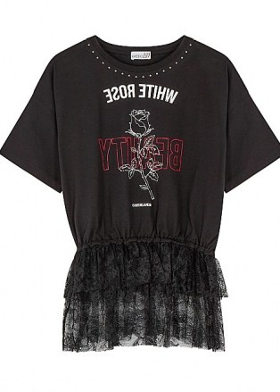 RED VALENTINO Black printed lace-trimmed cotton T-shirt   lace peplum tee - flipped