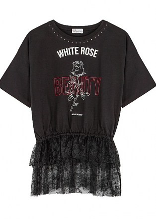 RED VALENTINO Black printed lace-trimmed cotton T-shirt   lace peplum tee