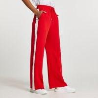 RIVER ISLAND Red wide leg side stripe trousers ~ sports style drawstring pants