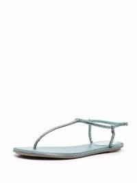 René Caovilla Diana rhinestone T-bar sandals ~ strappy flats ~ luxe flat summer sandal