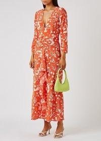 RIXO Rose printed silk crepe de chine maxi dress / orange underwater print front ruffle dresses / bright summer occasionwear