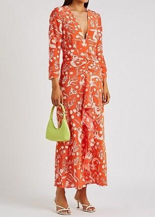 RIXO Rose printed silk crepe de chine maxi dress / orange underwater print front ruffle dresses / bright summer occasionwear - flipped