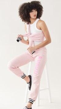 Rodarte RADARTE (RAD) Pink Gingham Printed Sweatpants ~ checked joggers