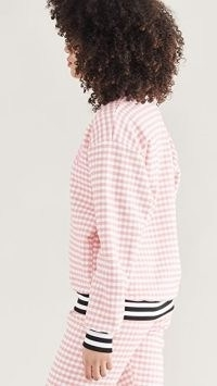 Rodarte RADARTE (RAD) Pink Gingham Sweatshirt ~ logo printed sweatshirts