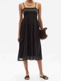 ANAAK Rosa shirred cotton-khadi midi dress ~ classic black thin shoulder strap sundress