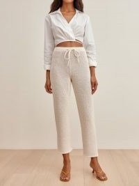 REFORMATION Rosso Open Knit Pant ~ knitted drawstring waist trousers