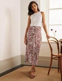 Boden Ruched Waist Skirt Red Oak, Summer Paisley | printed jersey skirts