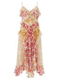 ZIMMERMANN Ruffled rose-print silk-chiffon midi dress – skinny strap ruffle trim summer dresses