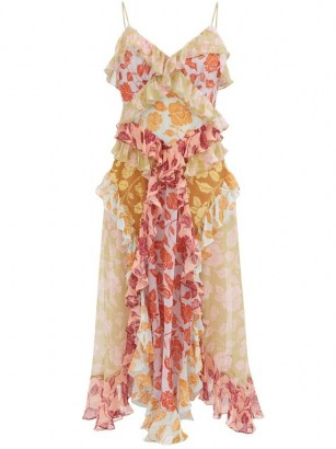 ZIMMERMANN Ruffled rose-print silk-chiffon midi dress – skinny strap ruffle trim summer dresses - flipped