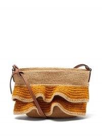 LOEWE PAULA'S IBIZA Ruffled-raffia and leather cross-body bag ~ ruffle detail summer bags ~ crossbody with woven ruffles