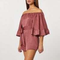 River Island Rust frill sleeve bardot playsuit – frilled off the shoulder playsuits