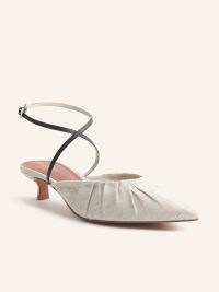 REFORMATION Sabrina Ankle Wrap Kitten Heel Mule / strappy pointed toe mules