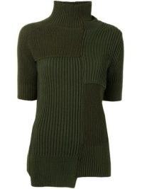 Sacai cut-out detail roll neck jumper ~ asymmetric khaki green short sleeve jumpers