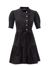 ATSHEVA Sadie pearl-button cotton mini dress in black