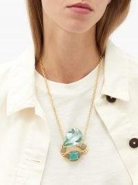 DANIELA VILLEGAS Saga sapphire, chalcedony & aquamarine necklace / chunky turquoise stone pendant necklaces / blue pendants