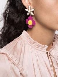 Saint Laurent floral clip-on earrings   bright retro flower drops   vintage style jewellery