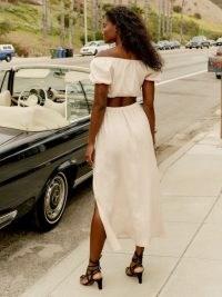 Reformation Sandalwood Linen Skirt Cream | high side slit summer skirts