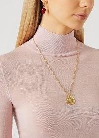 SANDRALEXANDRA Lemon Slice 18kt gold-plated necklace / fruit inspired jewellery / engraved disc pendant necklaces