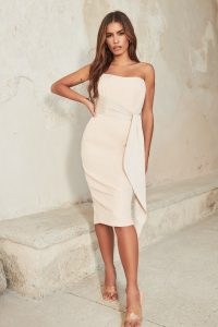 LAVISH ALICE satin mix draped bandeau midi dress in champagne ~ strapless evening dresses ~ luxe style party fashion