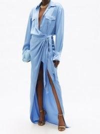 DAVID KOMA Blue satin wrap maxi dress | evening glamour