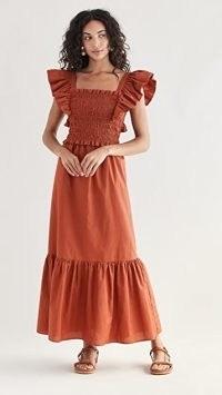 Sea Gladys Hand Smocking Short Sleeve Dress Rust ~ orange brown tiered hem dresses