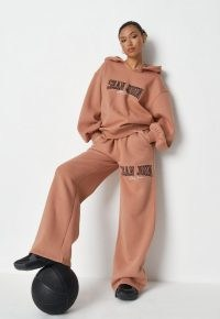 sean john x missguided tan pocket detail straight leg joggers ~ brown jogging bottoms ~ branded sports fashion