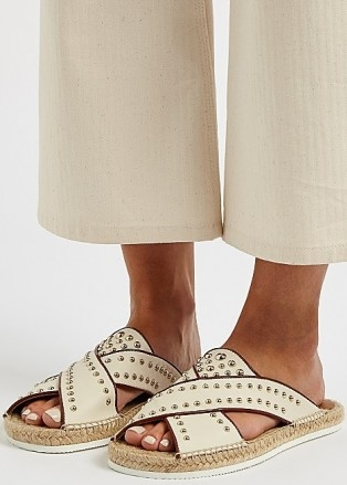 SEE BY CHLOÉ Pia off-white studded leather sliders / stud embellished slides - flipped
