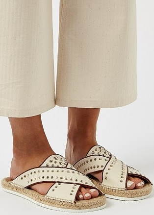 SEE BY CHLOÉ Pia off-white studded leather sliders / stud embellished slides