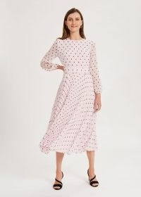 HOBBS SELENA SPOT PLEATED DRESS / pale pink long sleeve fit and flare dresses / summer occasionwear