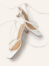REFORMATION Selene Lace Up Kitten Heel Sandal / strappy white leather thonged sandals