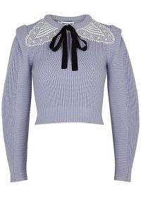 SELF-PORTRAIT Lilac lace-trimmed cotton-blend jumper