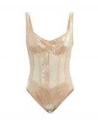 DAVID KOMA Sequinned corset bodysuit | glittering beige bodysuits