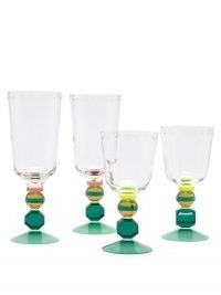 REFLECTIONS COPENHAGEN Set of four Mayfair crystal glasses ~ vintage style glassware ~ coloured glass