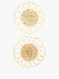 CABANA MAGAZINE Set of two flower wicker placemats ~ floral shaped dinner mats