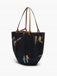 LOEWE PAULA'S IBIZA Shell parrot-print canvas tote bag / summer bags printed with parrots / bird prints