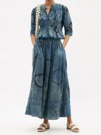 MIMI PROBER Shibori-dyed organic-cotton voile maxi skirt / long floaty flared-hem summer skirts