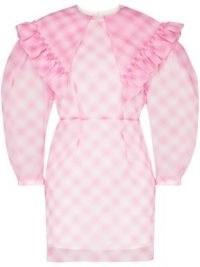 SHUSHU/TONG sheer puff-sleeves gingham mini dress – pink balloon sleeve dresses – checks and ruffles