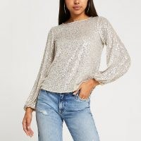 RIVER ISLAND Silver long sleeve sequin top / sparkly sequinned tops