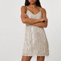 RIVER ISLAND Silver sequin tassel slip dress / shimmering tasseled cami dresses