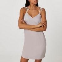 River Island Silver tie strap mini slip dress | cami dresses