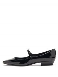 SAINT LAURENT Sixtine patent-leather Mary Jane flats   vintage inspired Mary Janes   glossy retro shoes