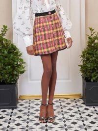 SISTER JANE DREAM Darling Tweed Mini Skirt Yellow, Pink, Black / textured check skirts