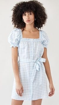 Sleeper Brigitte Linen Mini Dress In Blue Vichy | gingham puff sleeve summer dresses