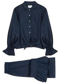 SLEEPER Rumba ruffle-trimmed linen pyjama set – navy blue ruffled pyjamas – frill trim PJs
