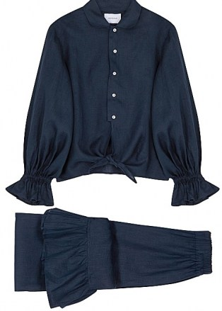 SLEEPER Rumba ruffle-trimmed linen pyjama set – navy blue ruffled pyjamas – frill trim PJs - flipped
