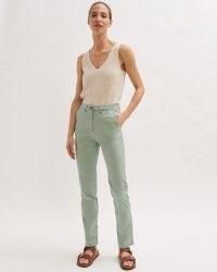JIGSAW SLIM LEG COTTON CHINO TROUSER PISTACHIO / casual green trousers