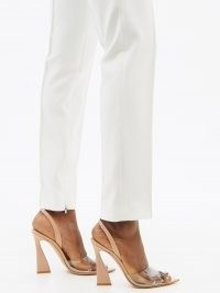 GIANVITO ROSSI Pink slingback 105 patent-leather sandals | clear strap party heels