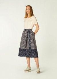 L.K. Bennett SMITH CREAM COTTON SILK SKIRT | mixed print tie waist summer skirts