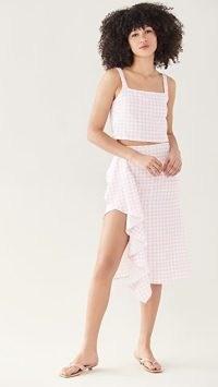 Sokie Collective Ruffle Midi Skirt Pink Gingham | check print thigh high slit skirts