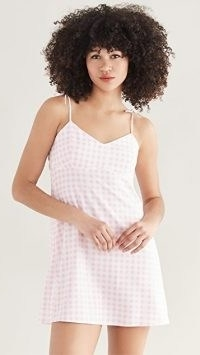Sokie Collective Tie Strap Mini Dress Pink Gingham